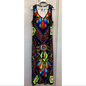 Magic Maxi 70's Inspired Tribal Patterned Dress L